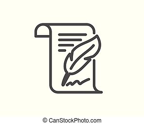 Feather signature line icon. Copywriting sign.