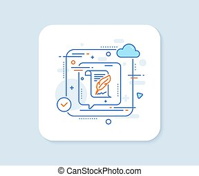 Feather signature line icon. Copywriting sign. Vector - ...