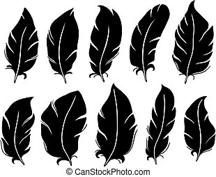 Feather silhouette. Bird wing feathers, lung quill and vintage pen isolated vector illustration set