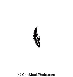 Feather silhouette isolated on white background. Bird icon
