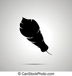 Feather silhouette, simple black icon with shadow