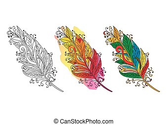 Feather sketch. Colorful Feather. Vector illustration.