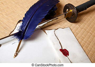 Feather sword and letter - Vintage quill with japanese sword...