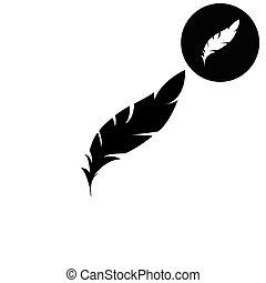 Feather  - white vector icon
