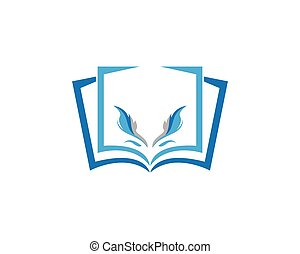 Feather with book icon logo vector