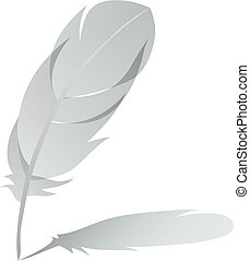 feather with shadow detailed vector