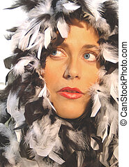Feather woman 4799 - feather, boa, glamour, woman, sexy,...