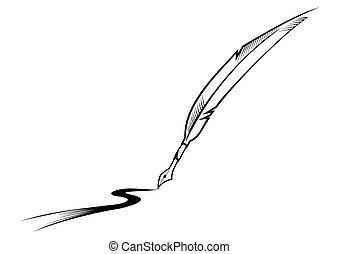 Feather writing - Black symbol of feather pen isolated on ...