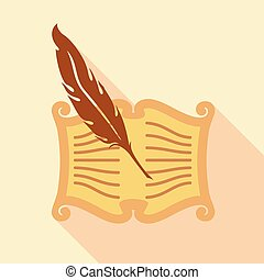 Feather writing icon, flat style