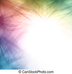 Wispy rainbow colored feathery random pattern to top and left sides on a white background