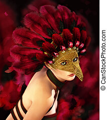 Feathered - portrait of a young woman with mask and feather...