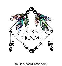 Feathers boho square frame