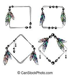 Feathers boho square frames
