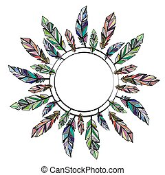 Feathers circle frame