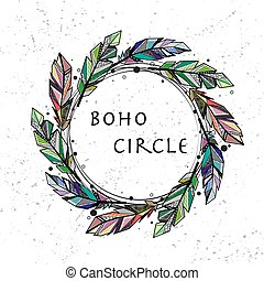 Feathers circle grunge background