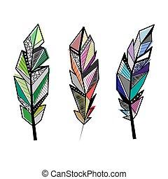 Feathers color lines set