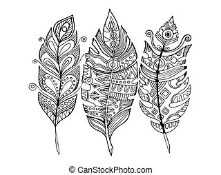 Feathers coloring book vector illustration