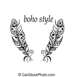 Feathers in boho style