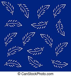 Feathers on blue background