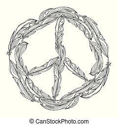feathers., señal, negro, blanco, paz, hecho, pacific., boho