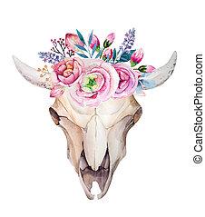feathers., vache, aquarelle, style, fleurs, desig, crâne, boho