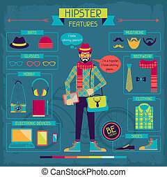 features., éléments, infographic, hipster, retro, style.