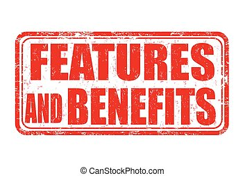 Features and benefits grunge rubber stamp on white background, vector illustration