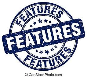 features blue grunge round vintage rubber stamp