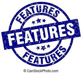 features blue round grunge stamp