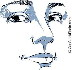 features., illustration., stående, avbild, drawing., idé, ansikte, anbud, vektor, frånvarande, emotionell, kvinna, monokrom, vit, ännu, uttryck, svart