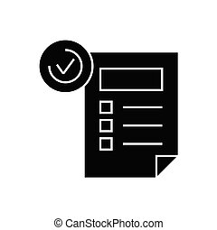 Features sheet black vector concept icon. Features sheet flat illustration, sign