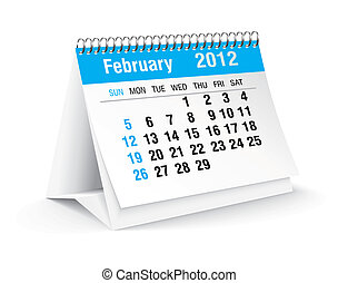 febbraio, 2012, calendario, scrivania