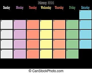 febbraio, pianificatore, spazio, colorare, grande, giorni, ...