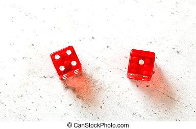 febbre, colpo, 4, esposizione, -, due, numero cinque, alto, asse, craps, 5, bianco, 1, rosso, dices