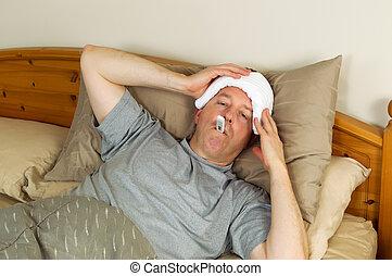 febre, doente, maduras, homem