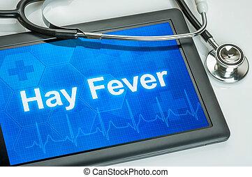 febre feno, diagnóstico, tabuleta, exposição