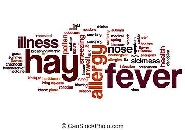 febre feno, palavra, nuvem