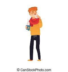 febre, gripe, sintomas, runny, gelado, nariz, tendo, homem