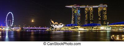 febrero, 2015:, merlion, 8, singapur, hotel, singapore-, bahía, frente, fuente, puerto deportivo, arenas, vista