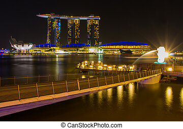febrero, 2015:, merlion, 8, singapur, hotel, singapore-, bahía, frente, fuente, singapore-jan, puerto deportivo, arenas, 31, vista