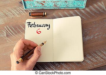 febrero, cuaderno, 6, calendario, día, manuscrito