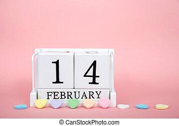február, 14, kiállítás, valentines, erdő, dátum, naptár, nap, tömb