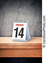 február, hivatal, concept., 14, asztal naptár, kedves, nap