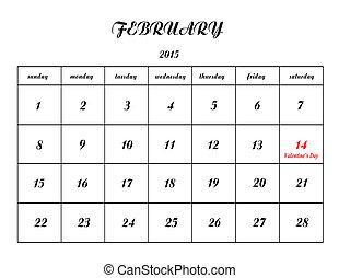 február, naptár, háttér, 14