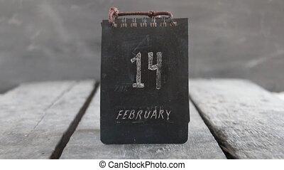 februar 14, valentines, calendar., inscription., tag