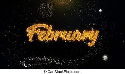 februar, gold, feuerwerk, partikeln, geschrieben, explodieren, textanzeige