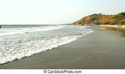februari, 20, vagator, goa, india, strand