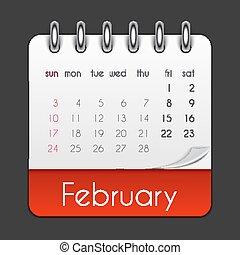 februari, blad, illustration, vektor, 2019, mall, kalender