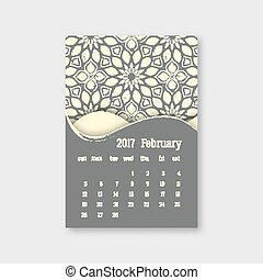februari, grunge, effect., årgång, pattern., stil, illustration, hand, start, söndag, vektor, orientalisk, oavgjord, kalender, mandala, 2017