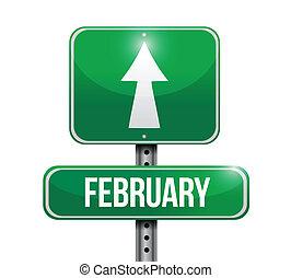 februari, ontwerp, illustratie, meldingsbord